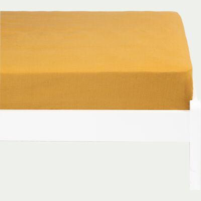Drap housse en lin lavé beige nèfle 90x140cm-VENCE