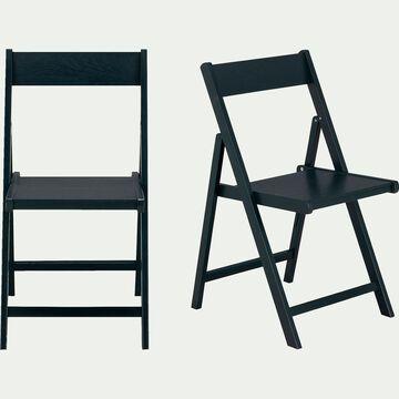 Chaise pliante en bois - noir-JULIA