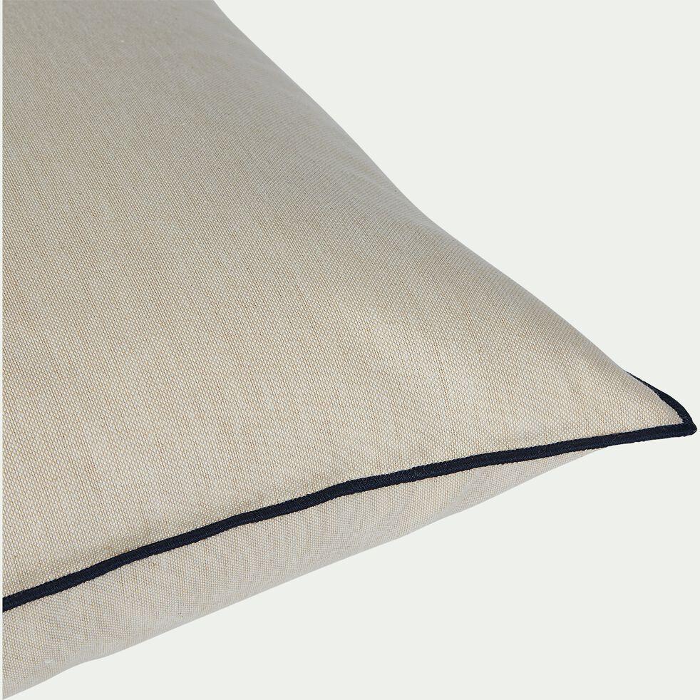 Coussin passepoil en coton - blanc 45x45cm-LINIA