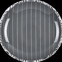 Assiette plate en grès gris D27cm-RAYURE