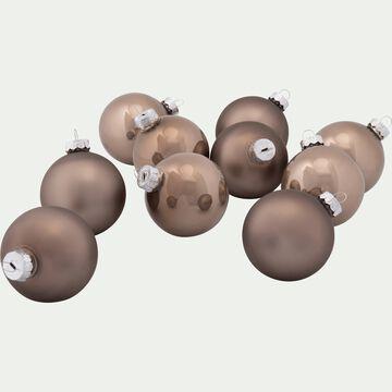 10 boules de Noël en verre marron D6cm-BOCCA