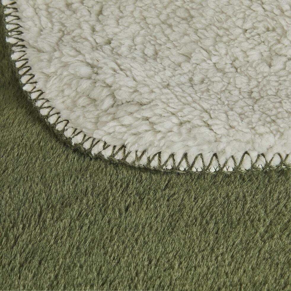 Plaid doux imitation fourrure - vert cèdre 130x170cm-MARIUS