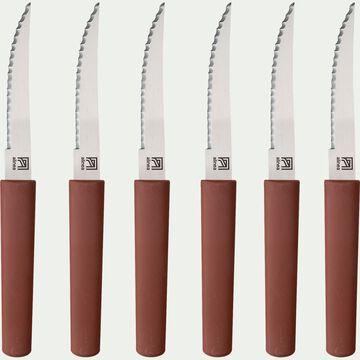 Bloc de 6 couteaux de table bi-matière et bio matière - rouge sumac-LINE