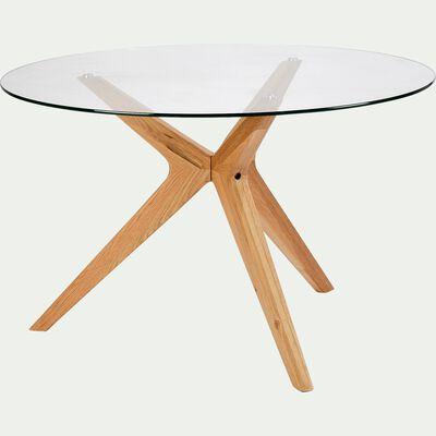 Table de repas ronde en verre - 6 places-FABIAN