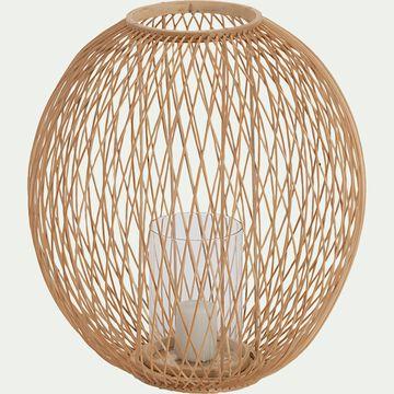 Photophore ovale ajouré en bambou - naturel H34cm-ACAMPA
