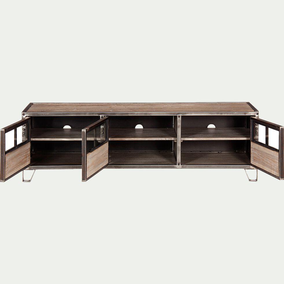 Meuble TV en pin, acier et verre-Ware