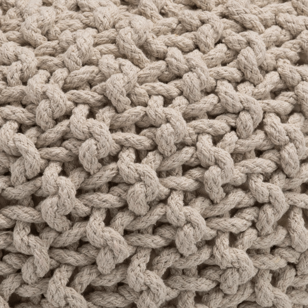 Pouf en coton tressé beige roucas 50x50x30cm-CESAR