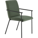 Chaise en tissu vert cèdre avec accoudoirs-JASPE