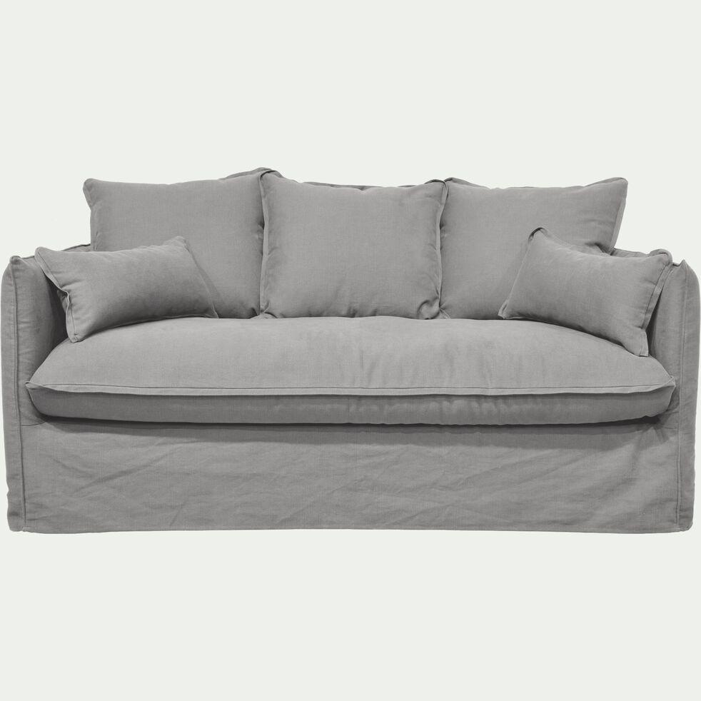 Canapé 3 places convertible en coton et lin - gris borie-KALISTO