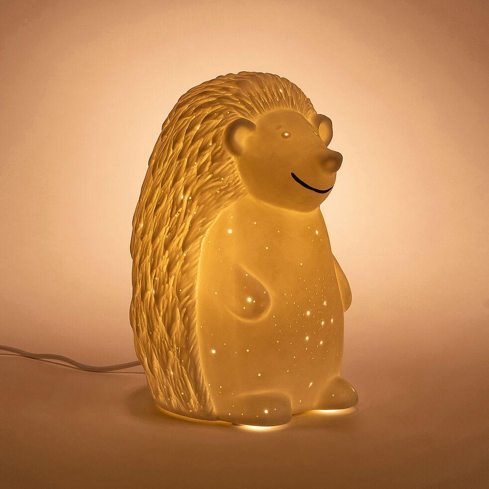 Lampe à poser électrifiée forme hérisson en porcelaine - blanc H19,8cm-Lumy