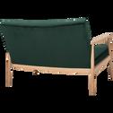 Canapé 2 places fixe en chêne et velours vert foncé-ANTON