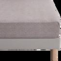 Drap housse en percale de coton peigné Gris clair - 140x200 cm-GYPSE