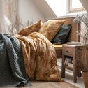 Housse de couette et 2 taies d'oreiller en coton motif palmes - jaune 240x220cm-DOUM