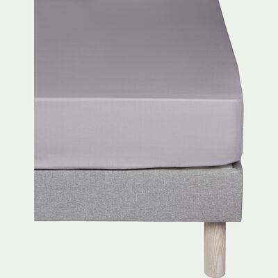 Drap housse en coton Gris restanque - 2x80x200 cm-CALANQUES