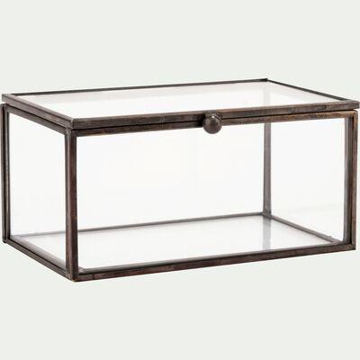 Boîte décorative en verre et fer - noir L13xl8xH6cm-ASTER