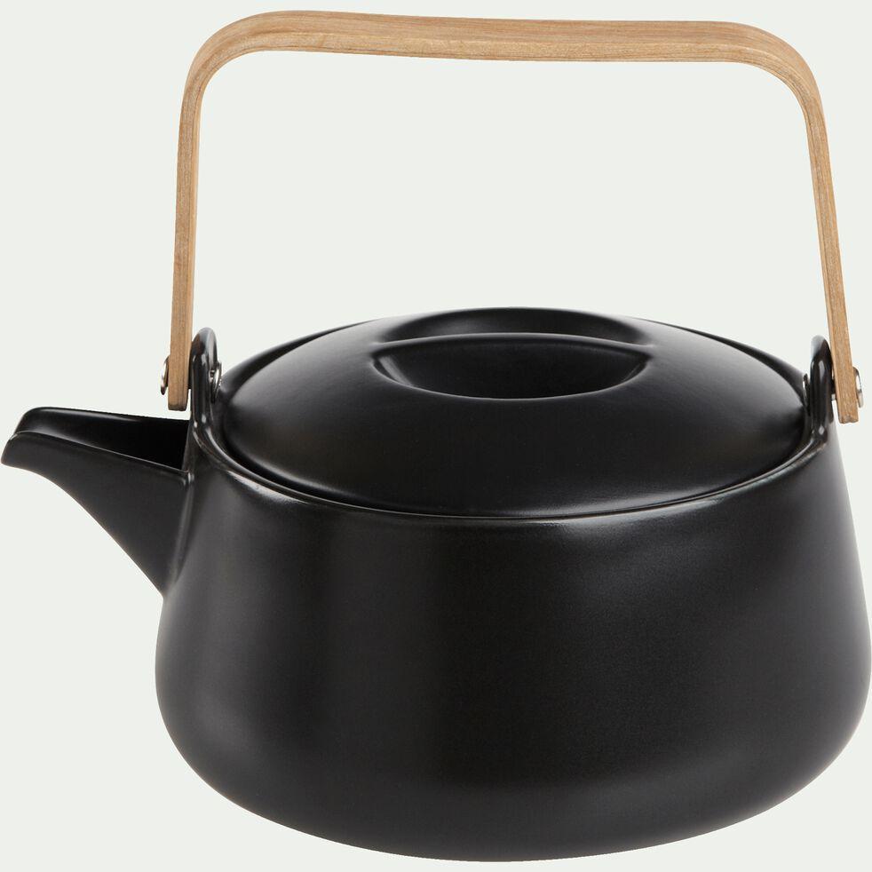 Théière en porcelaine noire mat avec anse en bambou 1L-OSAKA