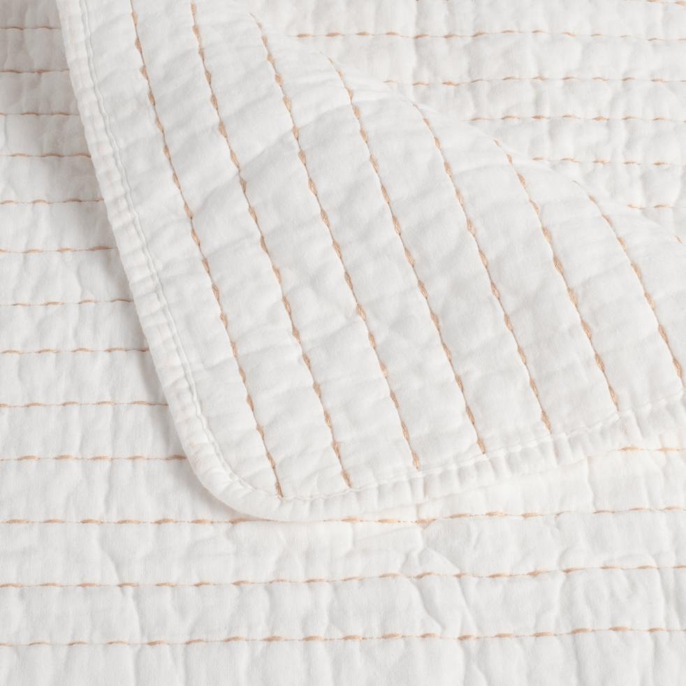 Jeté de lit en coton blanc ventoux et beige roucas 180x230cm-CASTEL