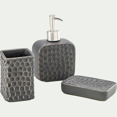 Set de salle de bain en céramique martelée - gris-NEVA