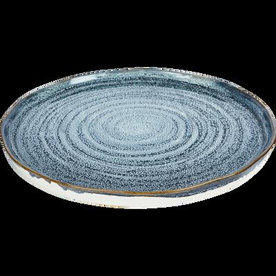 Plateau en céramique bleu D32cm-ARAL