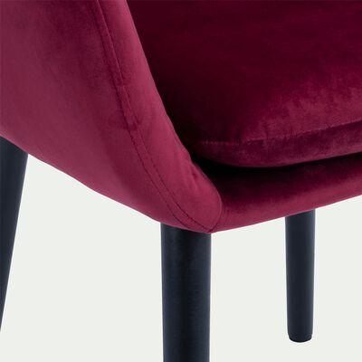 Chaise capitonnée en velours avec accoudoirs - rouge sumac-SHELL