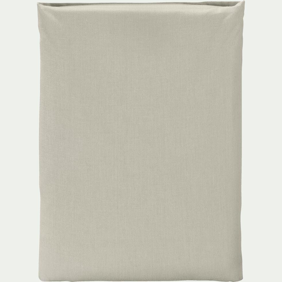 Drap plat en coton - vert olivier 270x300cm-CALANQUES