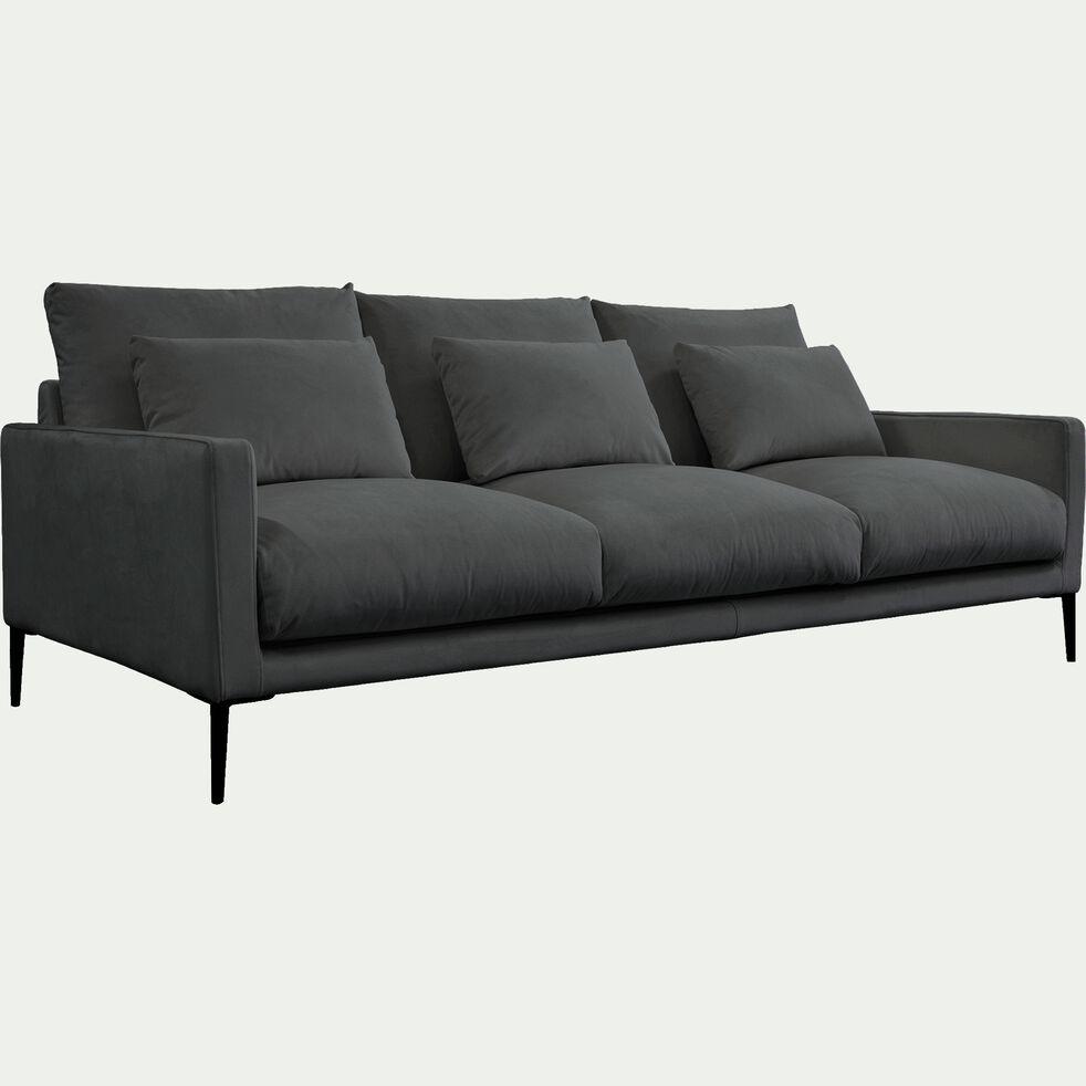 Canapé 4 places en velours - gris restanque-SOZY