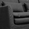 Canapé 3 places fixe jupe longue en lin froissé gris calabrun-FITOU