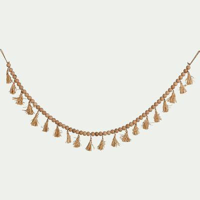 Guirlande perles de bois et pompons - naturel L155cm-TAHA