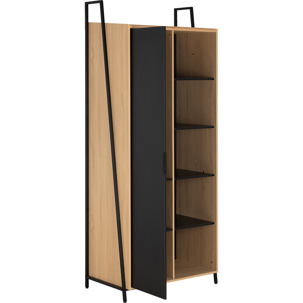 Armoire 1 porte bois clair et métal noir H221cm - HENRY - armoires - alinea