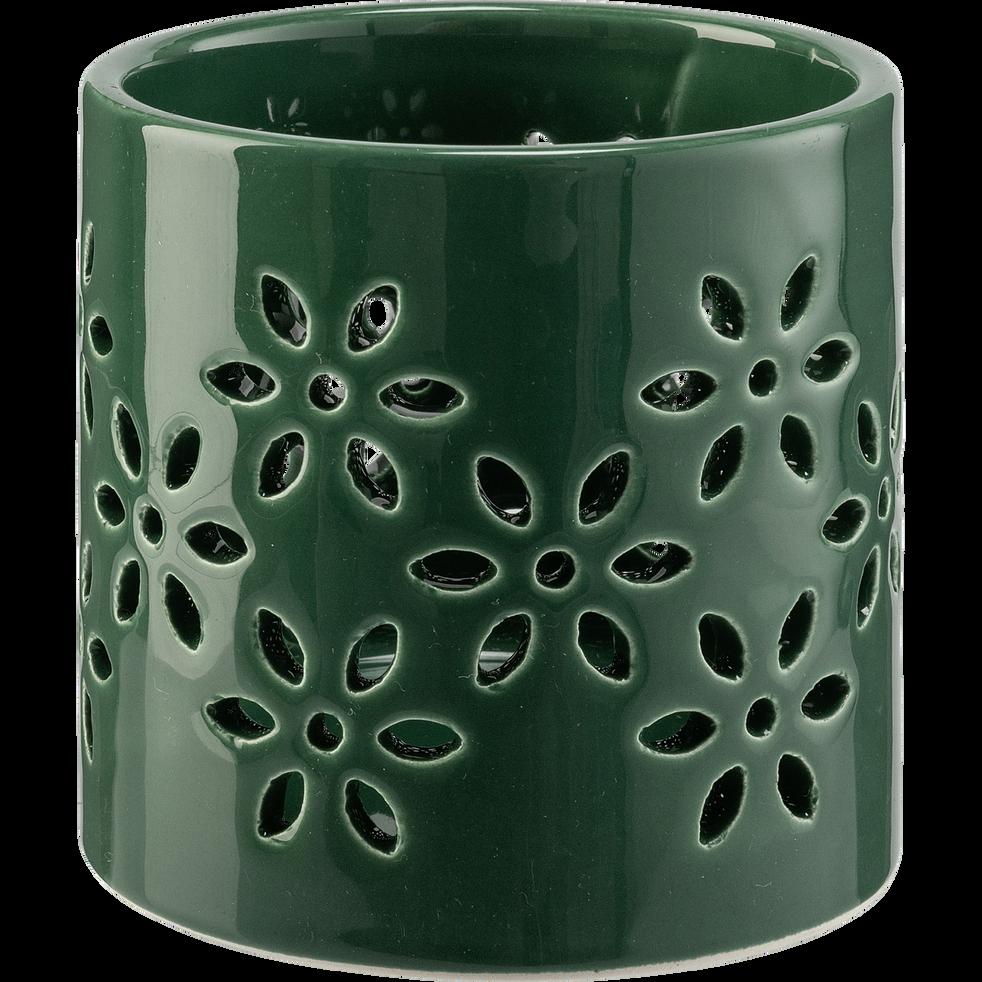 Photophore en céramique - vert D8,5xH8,7cm-LIV