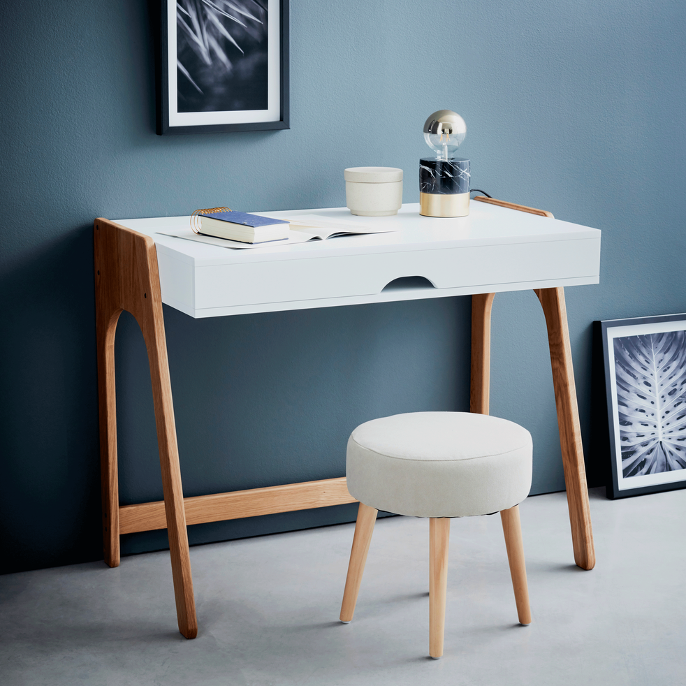 bureau en bois blanc avec plateau relevable duc bureaux alinea. Black Bedroom Furniture Sets. Home Design Ideas