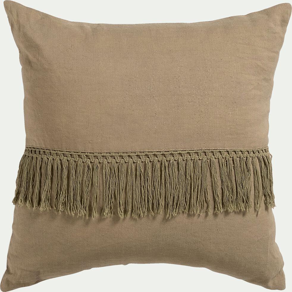Coussin frangé en lin et coton - marron châtain 45x45cm-TRIPOLI