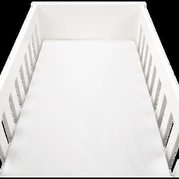 drap housse en percale de coton lavé 60x120cm blanc-PALOMA