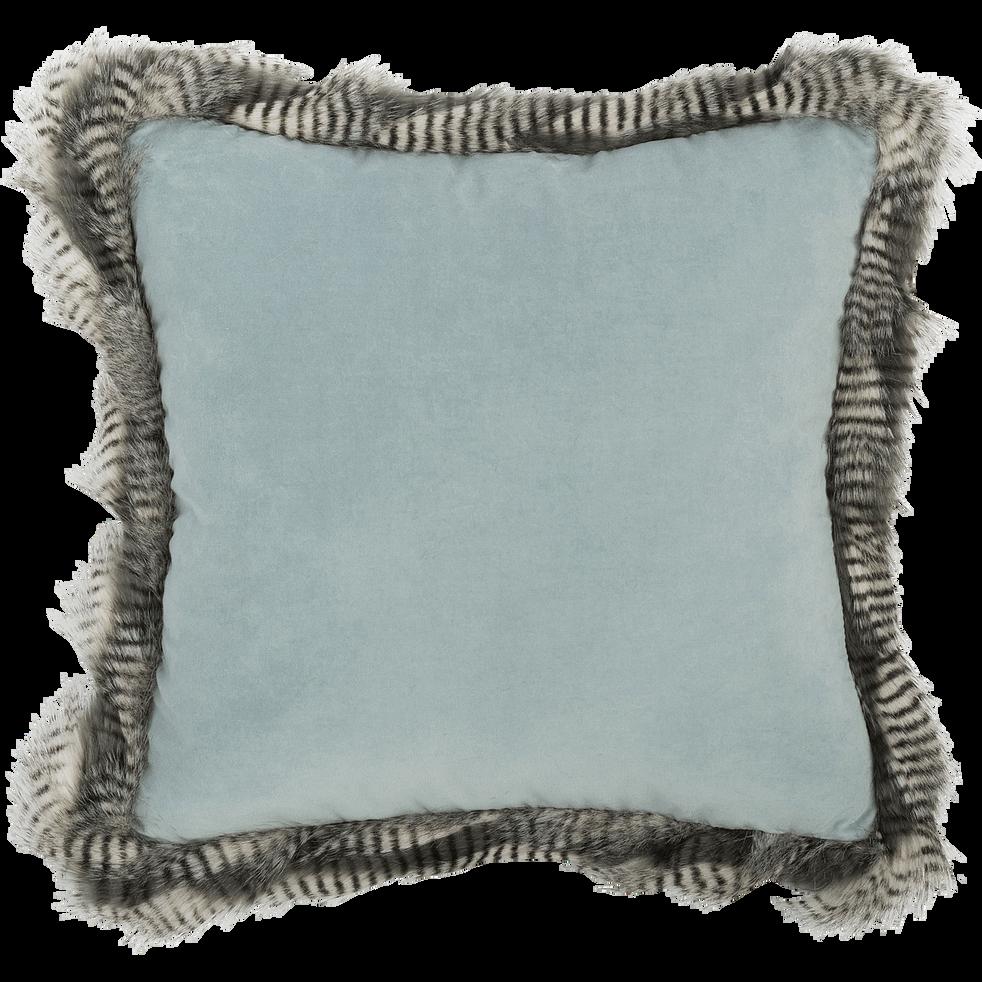 Coussin frangé en coton bleu 45x45cm-LINH