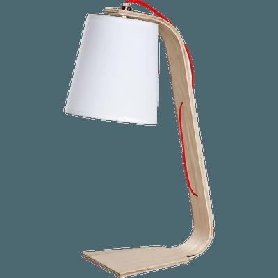 Lampe à poser en bois et coton blanc H43cm-ELLICA