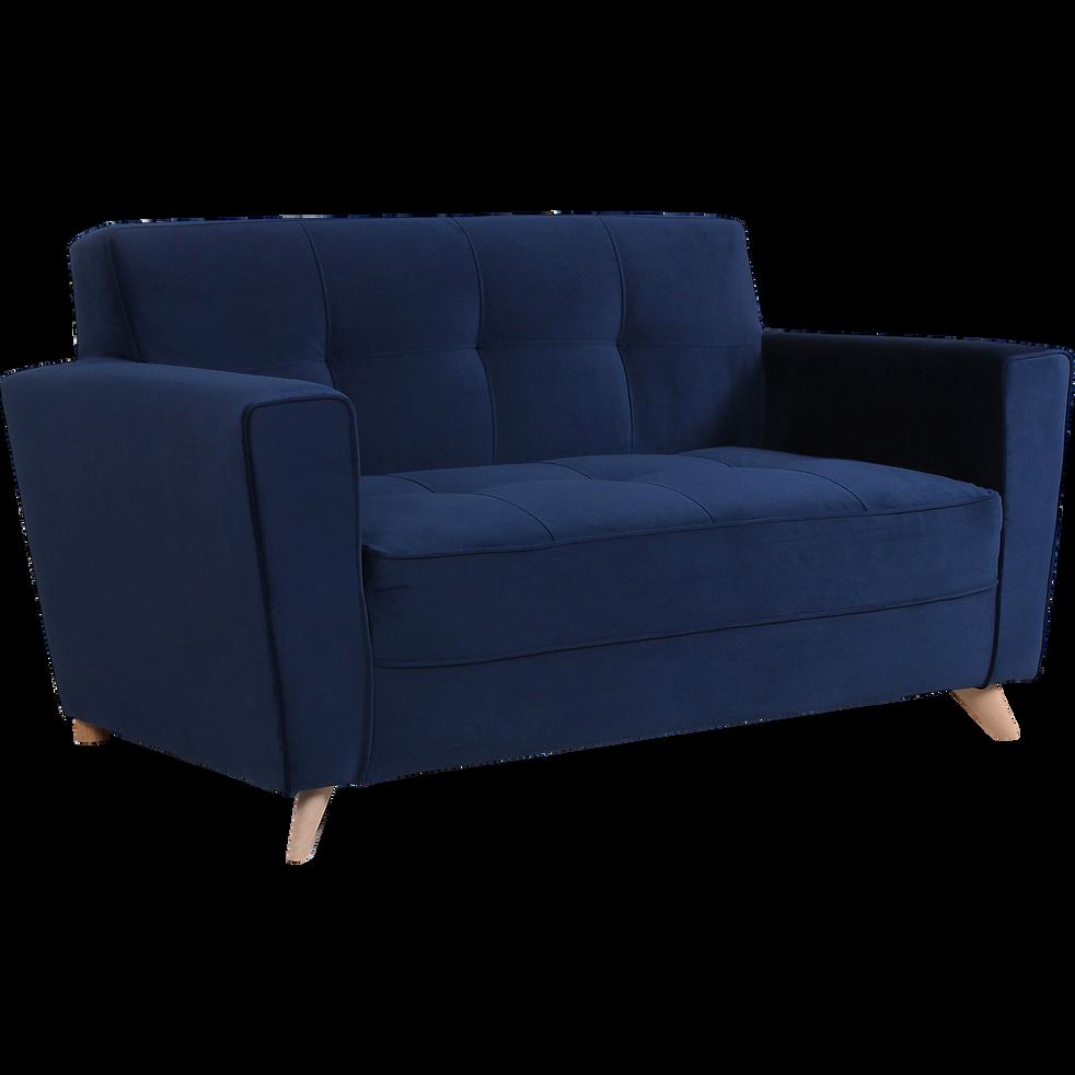 Canapé 2 places fixe en velours bleu-VICKY