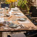 Table de jardin extensible en aluminium effet teck - noir (8 à 12 places)-VERDON