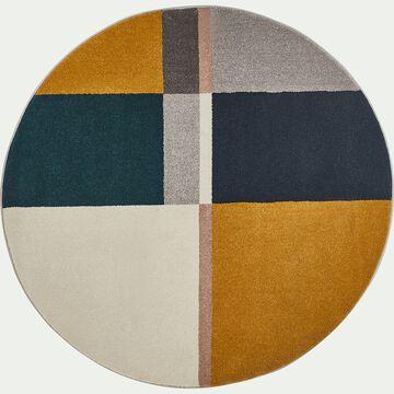 Tapis rond à motifs graphiques - jaune et bleu D160cm-Mahe