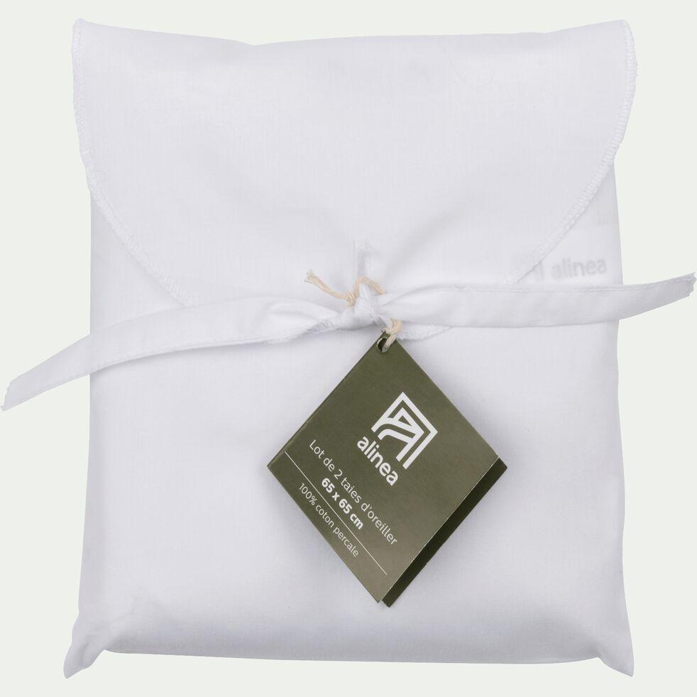 Lot de 2 taies d'oreiller en percale de coton - blanc 65x65cm-FLORE