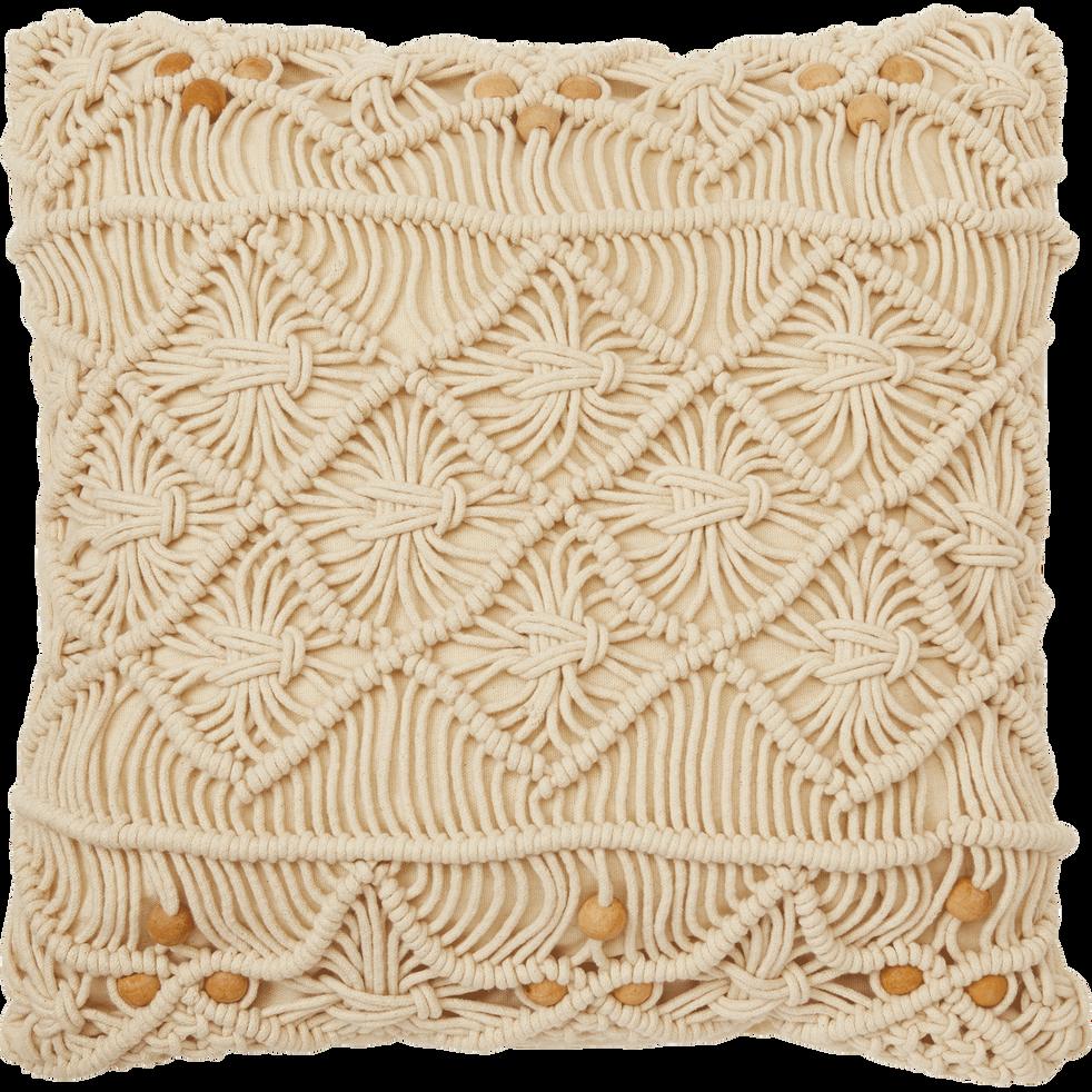 Housse de coussin en coton écru 45x45 cm-MOUNIA