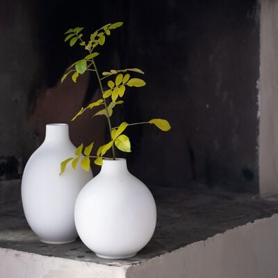 Vase en céramique blanc D18xH23cm-HYDRIE