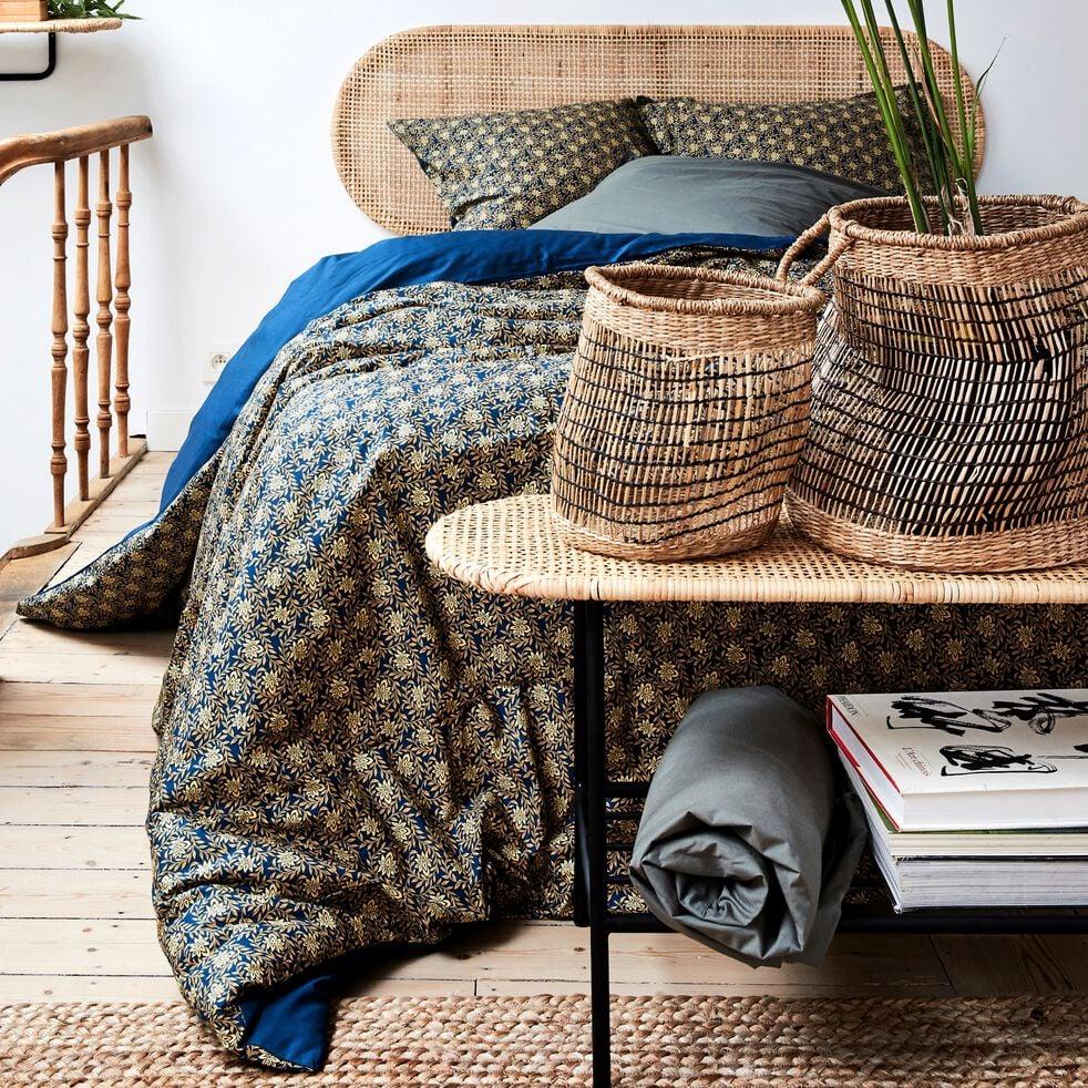 Housse de couette en percale de coton - doré et bleu figuerolles 260x240cm-LIVIA