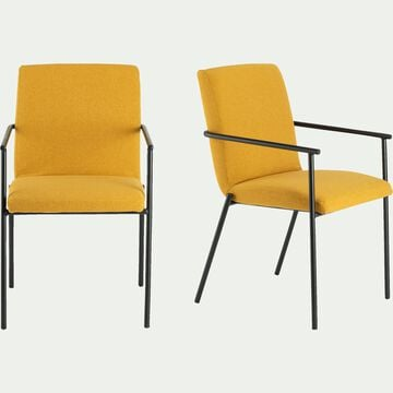 chaise en tissu avec accoudoirs - jaune-JASPE