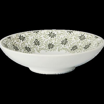 Assiette creuse en grès décoré vert olivier D19cm-JASMIN