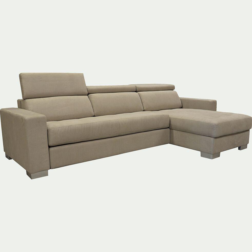 Canapé d'angle réversible fixe en microfibre - noisette-MAURO