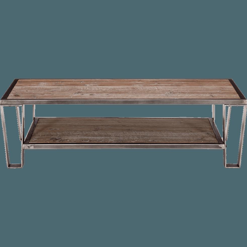 Table basse en pin et acier ware tables basses alinea for Alinea table basse bois