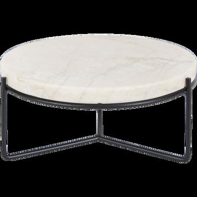 Plateau décoration en marbre blanc D25,5 cm-OGLIO