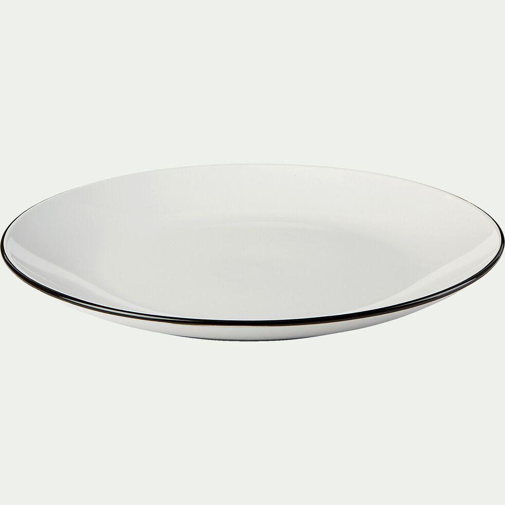 Assiette plate en grès D26,8cm - blanc-ANNE