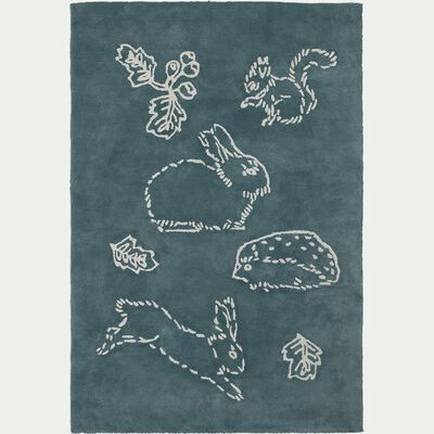 Tapis enfant tufté rectangle motif bestiaire 120x180cm - vert-Bestiaire