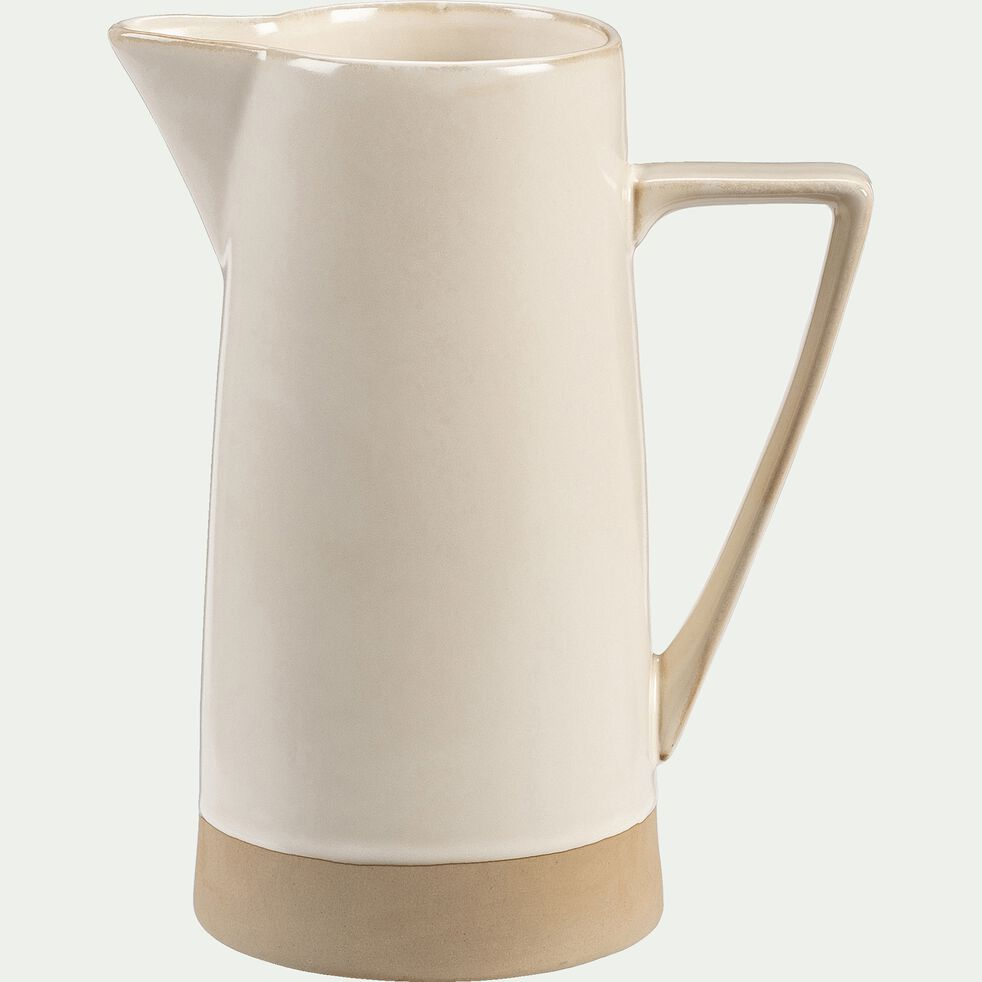 Pichet en grès - blanc - 1,6L-ESQUIROU